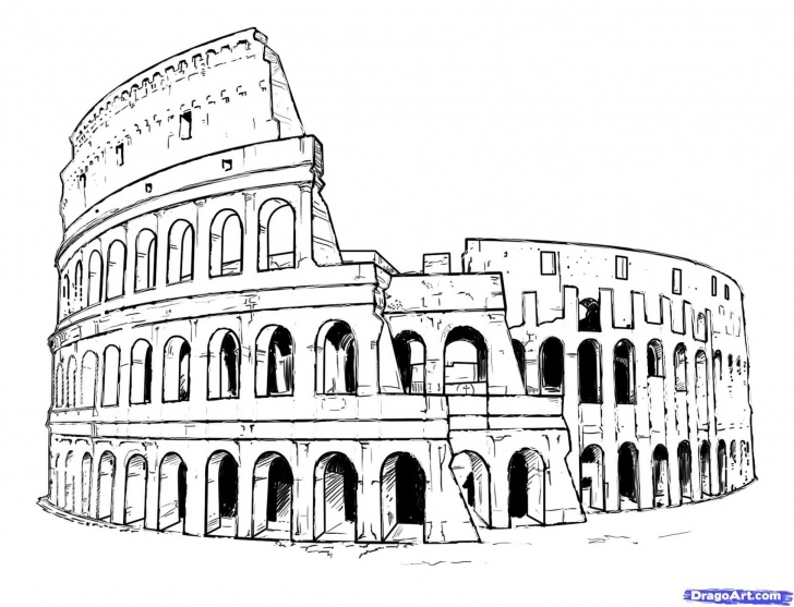 Nice Colosseum Pencil Sketch for Beginners How To Draw The Colosseum, Step By Step, Famous Places, Landmarks Photo