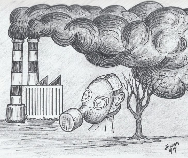 Nice Environment Pencil Drawing for Beginners Air Pollution Sketch At Paintingvalley | Explore Collection Of Photos