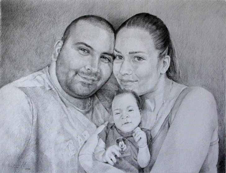Nice Family Pencil Drawing Free Family Portrait – Commissioned Portrait Drawing | Fine Arts Gallery Photo
