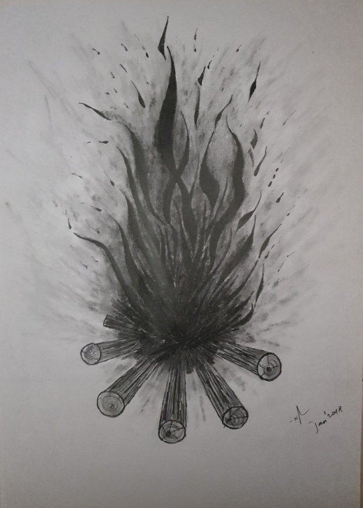 Nice Fire Pencil Drawing Easy Bonfire Fire | My Sketches, Pencil Sketches, Pencil Art | Dibujos Pic