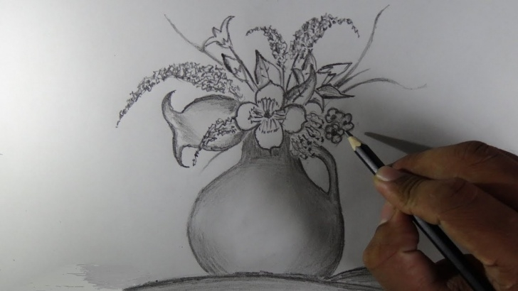 Nice Flower Vase Pencil Shading Simple How To Draw A Flower Vase - Pencil Drawing Picture