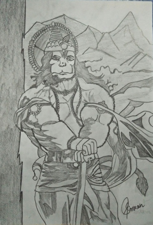 Nice Hanuman Sketches Pencil Lessons Hanuman Drawing, Pencil, Sketch, Colorful, Realistic Art Images Pic