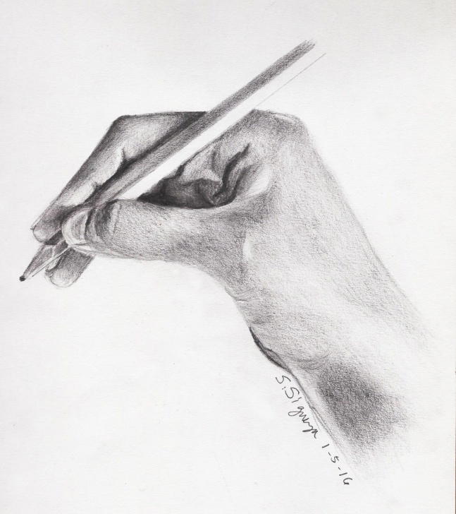 Holding A Pencil Drawing