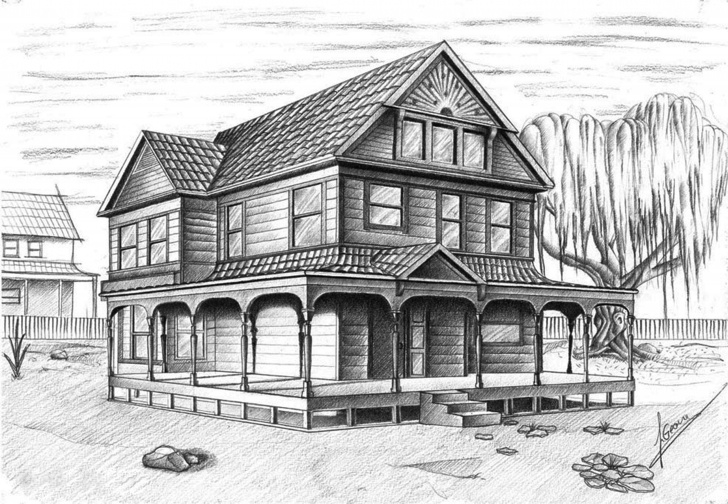 Nice House Pencil Sketch Free Pencil Drawing Of A Traditional American House | My Work | House Pictures