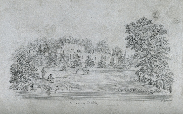 Nice Lake Pencil Drawing Tutorial Berkeley Castle, View From A Distance, With A River Or Lake In The Photo