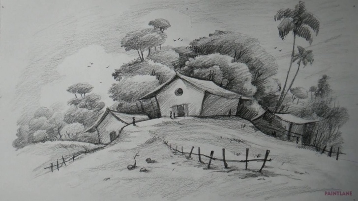 Nice Landscape Drawing With Pencil Shading Tutorial How To Draw Easy And Simple Landscape For Beginners With Pencil Pics