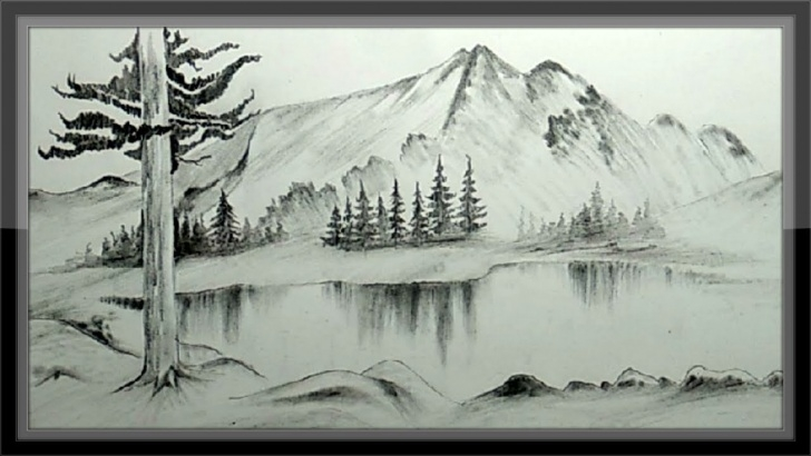 Nice Landscape Pencil Drawing Techniques Easy Pencil Drawing Mountain Landscape Scenery Step By Step Picture