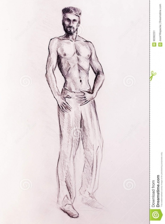 Nice Man Pencil Drawing Courses Mystic Man. Pencil Drawing On Old Paper. Stock Illustration Pic