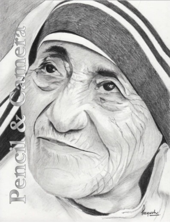 Nice Mother Teresa Pencil Drawing Tutorial Mother Teresa (2) Image