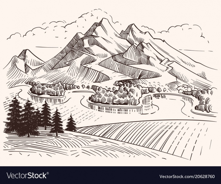 Nice Mountain Pencil Drawing Techniques Pencil Drawing Mountain Landscape Cartoon Sketch Pic