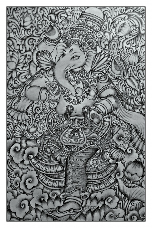 Nice Mural Pencil Drawings Techniques Kerala Mural Ganesha Pencil Drawing By Shamilart | Kerala Murals In Pics