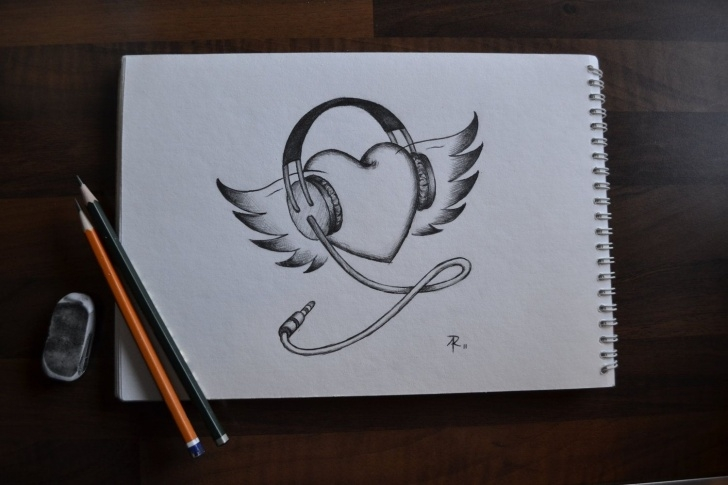 Nice Music Drawings In Pencil Techniques for Beginners Heart With Wings And Headphones Drawing | Art Ideas In 2019 Photo