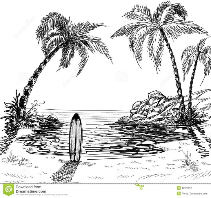 Nice Palm Tree Pencil Drawing Ideas Landscape+Pencil+Sketches | Seascape Drawing With Palm Trees And Pictures
