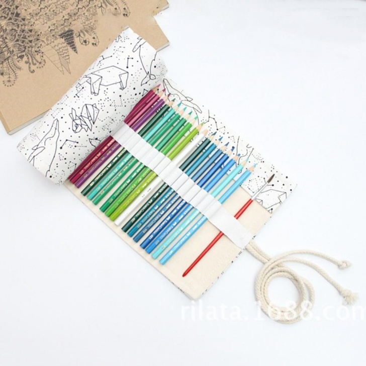 Nice Pencil Box Sketch for Beginners Big Pencil Case School Canvas Roll Pouch Pencil Box Constellation Case  Sketch Brush Pen Bag Tools Picture