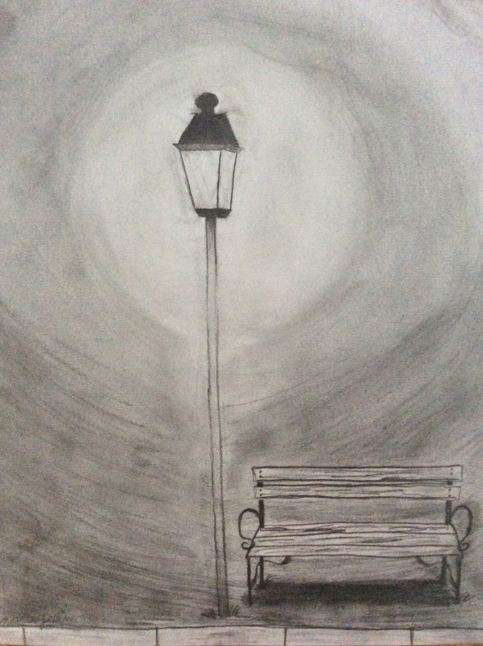 Nice Pencil Drawing Of Night Scene Techniques Park Bench Under Street Lamp In The Night. Pencil Drawing | Alice In Photo
