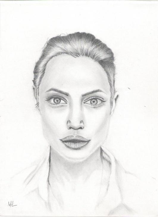 Nice Pencil Self Portrait Techniques Pencil Drawing Of Angelina Jolie Portrait Pic