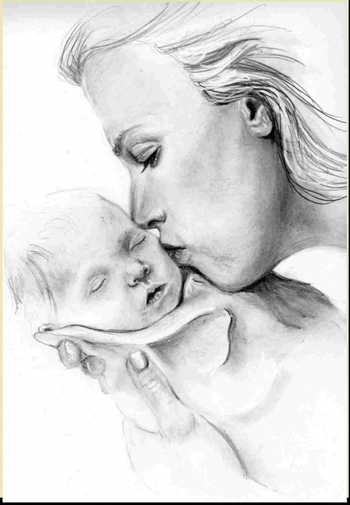 Nice Pencil Sketch Of Mom Free Drawings Mom Pencil Sketch Of Mom Kisses Baby My Portraits U Pics