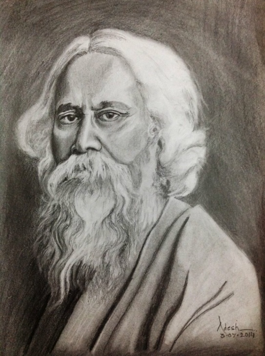 "Nice Pencil Sketch Of Rabindranath Tagore Courses Adesh Bhatt On Twitter: ""my Sincere Regards To Gurudev Rabindra Nath Image"