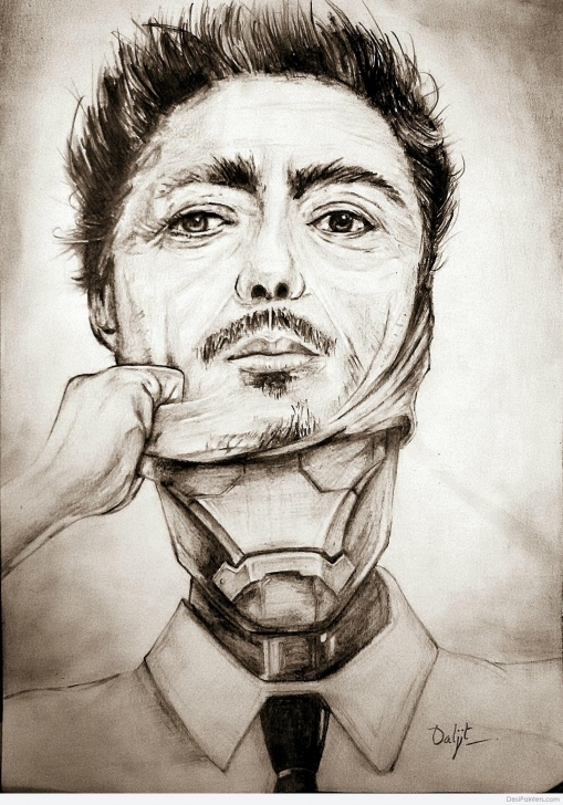 Nice Robert Downey Jr Pencil Sketch Simple Pencil Sketch Of Robert Downey Jr. Iron Man | Desipainters Pictures