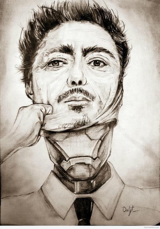 Nice Robert Downey Jr Pencil Sketch Simple Pencil Sketch Of Robert Downey Jr. Iron Man | Desipainters Pictures