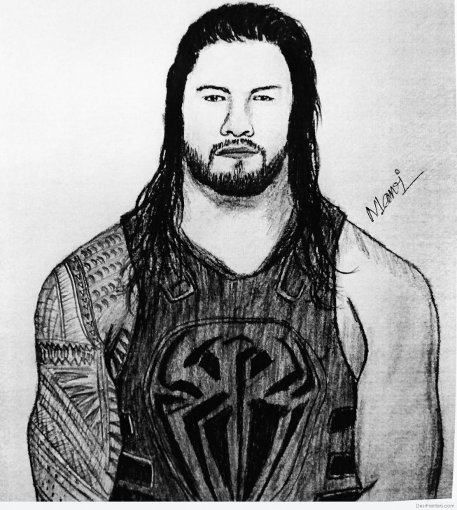 Nice Roman Reigns Pencil Drawing Easy Superb Pencil Sketch Of Roman Reigns | Desipainters Picture