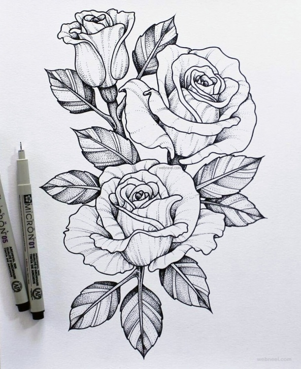 Nice Rose Flower Pencil Sketch Tutorials 45 Beautiful Flower Drawings And Realistic Color Pencil Drawings Pic