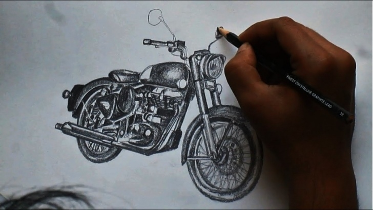 Nice Royal Enfield Pencil Sketch Courses Royal Enfield Stealth Black ( Classic 500) - Sketching Images