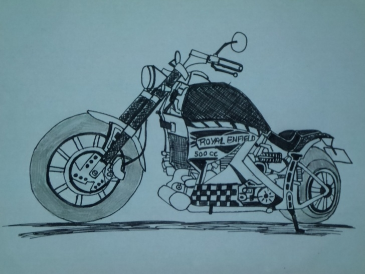 Nice Royal Enfield Pencil Sketch Techniques Bullet Sketch At Paintingvalley | Explore Collection Of Bullet Picture