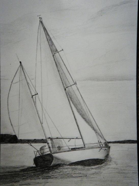 Nice Sailboat Pencil Drawing Tutorial Sailboat Group Of 5 Original Pencil Drawings - On Sale. $320.00, Via Images