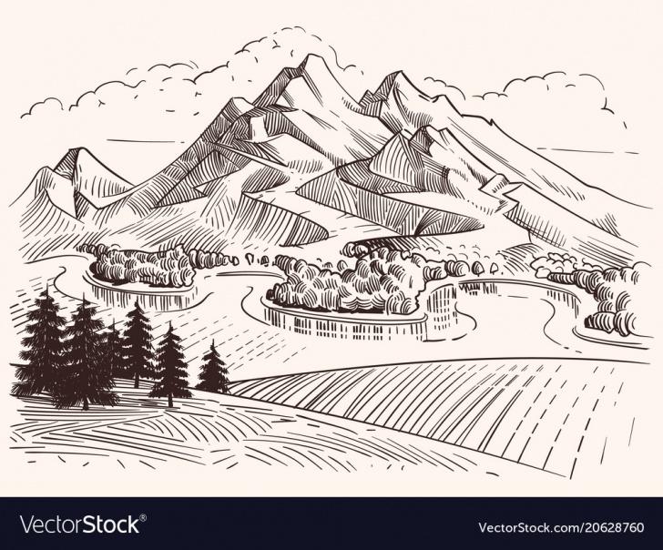Nice Sketch Landscape Tutorial Pencil Drawing Mountain Landscape Cartoon Sketch Photo