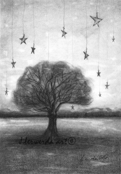 Nice Star Pencil Drawing Courses Pencil Drawing Print - Tree Stars - Day 355 Photos