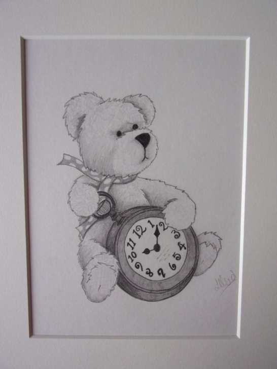 Nice Teddy Bear Pencil Sketch Simple Teddy Bear Pencil Drawing, Teddy Bear Drawing, Pencil Sketch, 10X8 Drawing,  Teddy Bear Pictures Pictures
