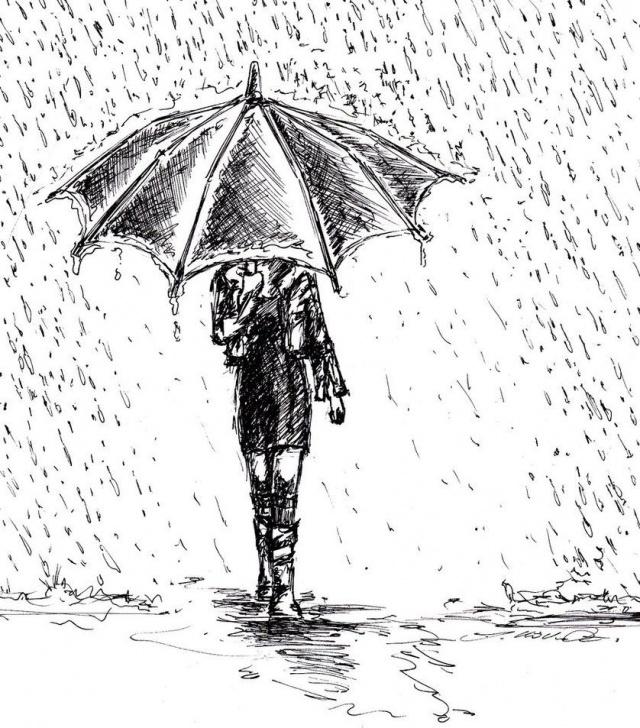 Nice Umbrella Pencil Drawing Tutorials Girl In Rain Drawing | Art Ideas In 2019 | Art Drawings, Drawing Image