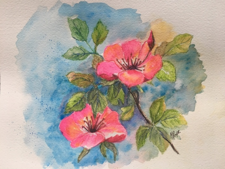 Nice Watercolor Pencil Flowers Courses Watercolor Pencil Flowers/watercolor Pencils/azaleas/home Decor/floral  Watercolor/8 X 10/watercolor Pencil Painting/azaleas Painting Pic