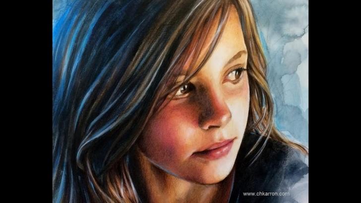 Nice Watercolor Pencil Portrait Courses Watercolor And Colored Pencils Portrait Speed Painting By Ch. Karron Photo