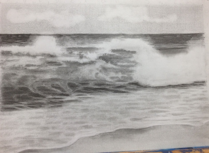 Nice Wave Pencil Drawing Techniques for Beginners Wave Pencil Drawing | Painting In 2019 | Pencil Drawings, Drawings Pic