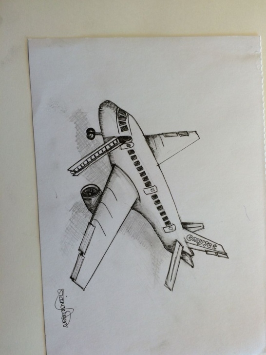 Outstanding Aeroplane Pencil Drawing Tutorials Aeroplane Sketch, B&w, Drawing What I See Outside | Lol In 2019 Image