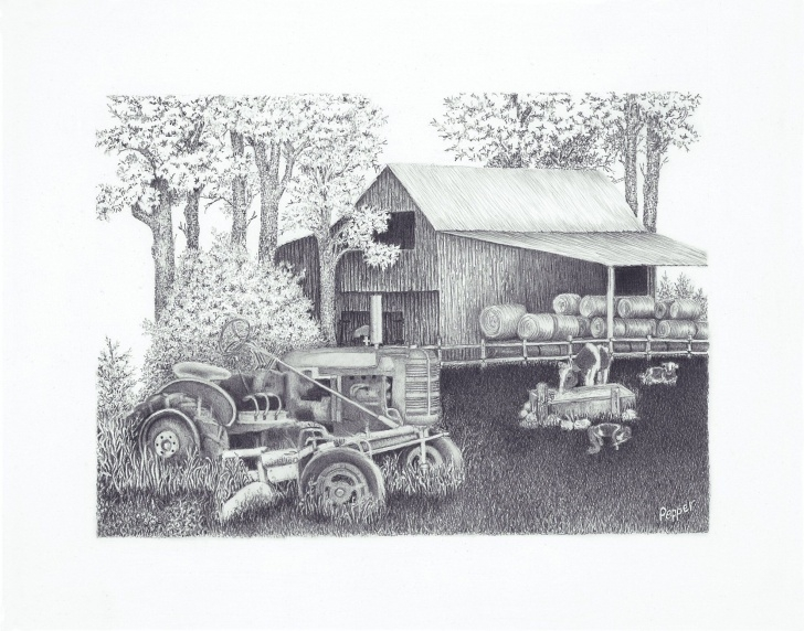 Outstanding Agriculture Pencil Drawing Easy Drawing Of An Old Barn And Tractor In Pencil   My Drawings   Pencil Picture