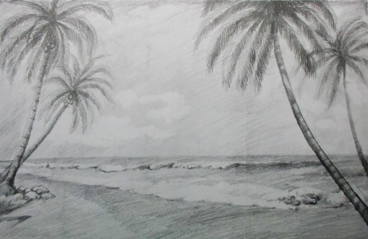Outstanding Beach Pencil Drawing Techniques Beach Landscape Sketch At Paintingvalley | Explore Collection Of Images