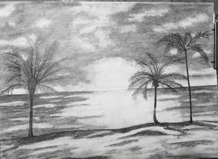 Outstanding Beach Pencil Sketch for Beginners Beach Pencil Drawing At Paintingvalley | Explore Collection Of Images