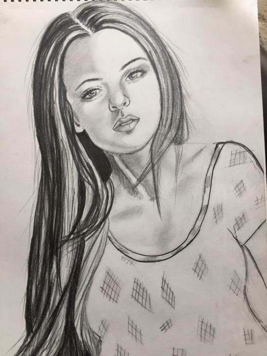 Outstanding Beautiful Girl Pencil Sketch Tutorials Trybe: Beautiful Pencil Sketch Of A Gorgeous Girl. Photo