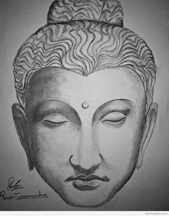 Outstanding Buddha Pencil Drawing Courses Beautiful Pencil Sketch Of Lord Buddha   Desipainters Pics