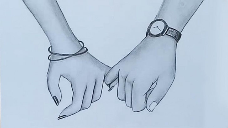 Outstanding Couple Pencil Drawing Lessons Holding Hands Pencil Sketch || Valentine's Day Special Image