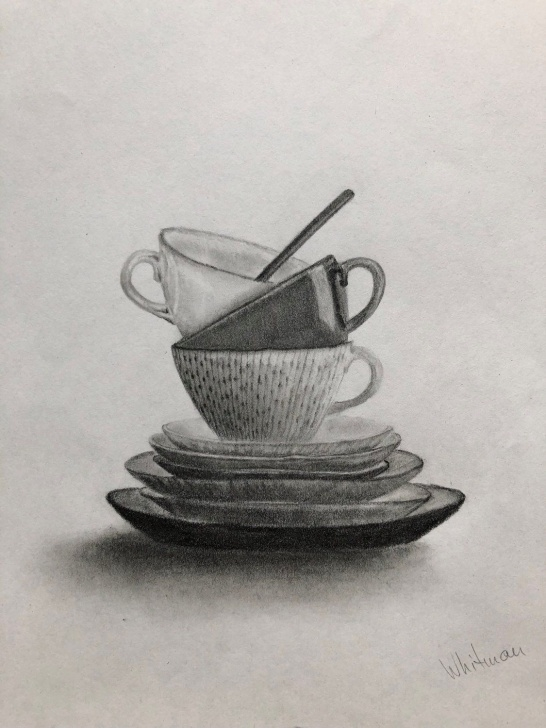 Outstanding Cup And Saucer Pencil Drawing Free Tea Cups. Graphite/pencil Drawing By Elena Whitman | Graphite Pencil Pics