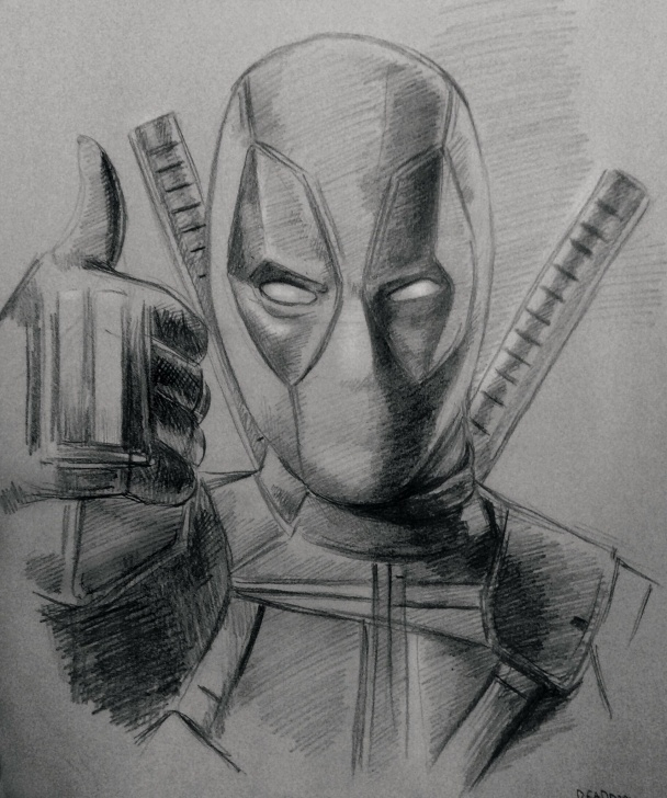 Deadpool Drawing In Pencil