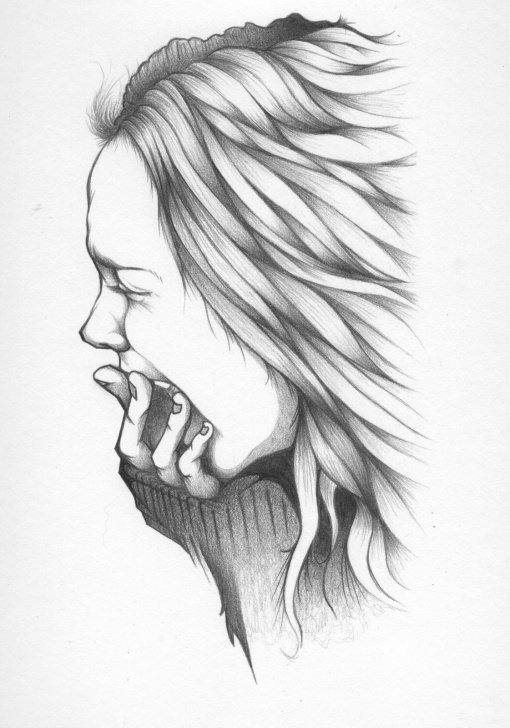 Outstanding Depressing Pencil Drawings Tutorial Depressed Girl Drawing, Pencil, Sketch, Colorful, Realistic Art Picture