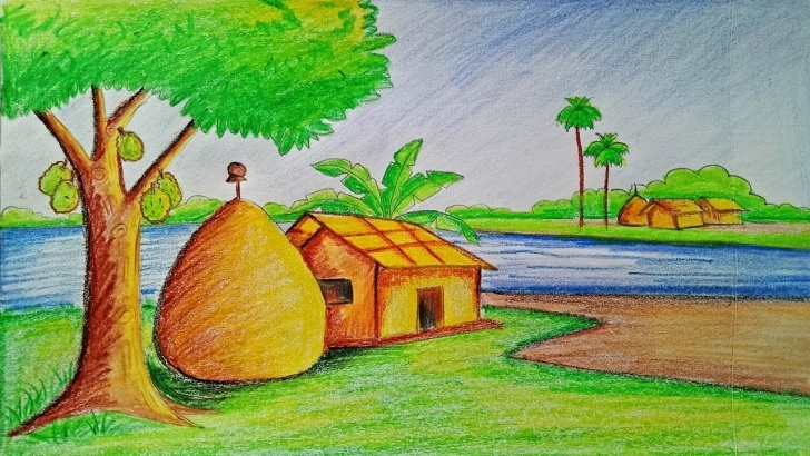 Outstanding Drawing Images Village Tutorial How To Draw A Village Scenery Step By Step (Very Easy) Picture