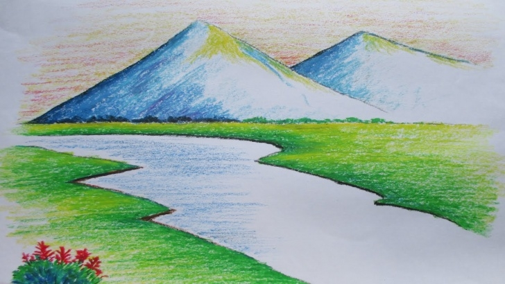 Outstanding Easy Landscape Drawing For Beginners Courses Beginners Mountain Landscape Drawing With Oil Pastel Images