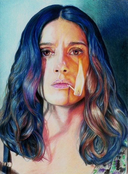 Outstanding Famous Colored Pencil Artists Lessons Salma Hayek By Pevansy On Deviantart | Famous People By Different Picture