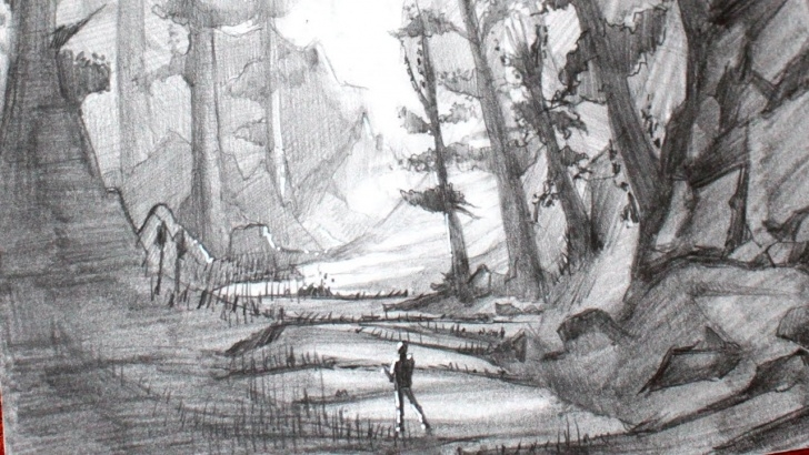 Outstanding Forest Pencil Drawing Lessons Drawing A Manga Forest Landscape - Pencil Images
